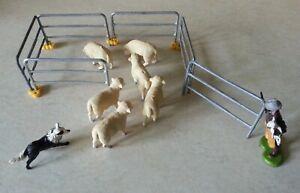 Britains 1/32 Plastic Farm Sheep, Shepherd, Dog and Metal Fencing Vintage 1970's