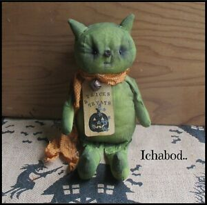 Primitive Aged Green Cat Doll Halloween Autumn Fall  Holiday Decoration