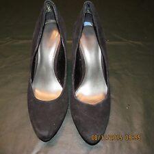 Womens Nine West Black Dress Shoes Heels 7.5 7 1/2 Suede Pumps EXCELLENT