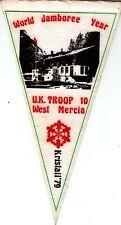Boy Scout PENNANT WORLD JAMBOREE IRAN 1979 UK Troop 10 West Mercia