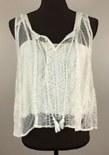 Womens American Eagle Lace Tank Crop Top With Camisole Sz M Off White