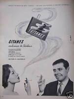 PUBLICITÉ 1958 CIGARETTES GITANES AMBIANCE DE BONHEUR AVEC FILTRE OU SANS -TABAC
