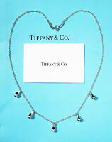 Tiffany & Co Elsa Peretti Sterling Silver Five 5 Teardrop Necklace 16 Inch