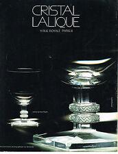 PUBLICITE   1975   CRISTAL LALIQUE  verres ARGOS