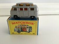 1960s.Matchbox.Lesney.BPW.34 VOLKSWAGEN Silver Camper.High Roof.MINT IN BOX