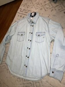 Billy Reid Denim Shirt Western Brass Snap NWT Supreme Quality Size L Bleached Co