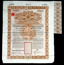 Chinese Imperial Government Bond 4.5% £ 16 Million Gold Loan 1898 with Coupons