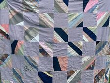 Vintage Hand Quilted String Or Strip Cutter Quilt With Blue Outing Flannel Back