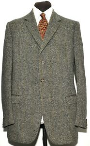 GREAT VINTAGE MOSS BROS FLECK TWEED SUIT GREY GREEN CHECK SIZE 42 LONG 38 W