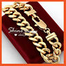 24K CHAMPAGNE GOLD FILLED CHUNKY 12MM CURB RING LINK SOLID MENS WOMENS BRACELET