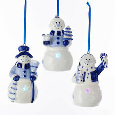 KURT ADLER SET OF 3 PORCELAIN B/O DELFT BLUE LED SNOWMAN CHRISTMAS ORNAMENTS