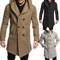Mens Coat Trench Coat Outwear Overcoat Long Sleeve Button Up Jacket Top Hooded