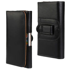 for Huawei Mate 7 8 9 10 Universal Horizontal Belt Clip Leather Pouch Case Black