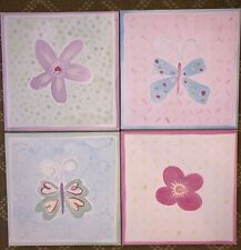 Pottery Barn Kids Set of 4 Flower Butterfly Pictures Wall Art