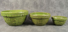 McCOY POTTERY GREEN NESTING MIXING BOWL 3 PC SET ~ COTTAGE GARDENER ~