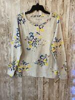 Women's Ann Taylor loft NWT medium gray floral long sleeve cotton knit blouse