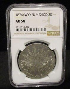 1874/3 GO FR Mexico 8R - NGC AU 58 - 012      ENN COINS
