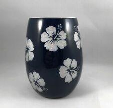 Blue Hibiscus Theme Epoxy Coated 16 oz Wine Glass