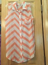 Women's Blouse Semi Sheer Coral White Sleeveless Long Top Sz L Pre-owned