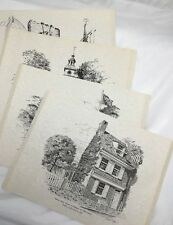 Joseph L. Voelker Pennsylvania Art Rapidograph Ink Drawing Prints- Set of 4