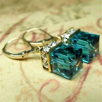 Vintage Women 925 Silver Emerald Gemstone Wedding Engagement Earrings Jewelry