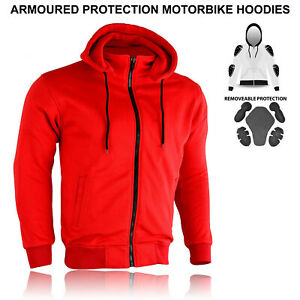 Unisex Motorcycle CE Protection Mesh Lined Removable Armor Top Fleece Hoodie New