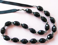 Beads & Small Gunmetal Beads Very Long Accessorize Necklace_Giant Faceted Black