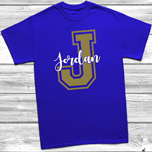 Personalised Name & Initial T-Shirt Kids Childrens Tee Top Girls Boys Gold