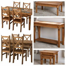 Seconique Salvador Distressed Waxed Pine Tables - Coffee Lamp Nest Console Tile Top Dining Table