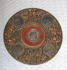 ☆Antique Brass Coin Embed Brass Plate☆Coat of Arms☆Coins: 1871/1877/1885/1897☆