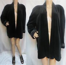 Vintage Black Velvet Open Front Swing Coat w/ Satin Accent JS Collections Size M