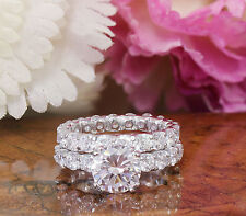 Huge 6.50ct Round Prong Engagement Ring Man Made Diamond Sterling Silver .925