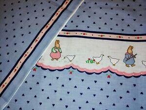 "3½ yards HONEY BUNNY Border Print Daisy Kingdom Blue Cotton Fabric - 44"" wide"