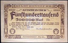 HONNEF 1923 *Uncataloged Specimen* 500,000 Mark Inflation Notgeld Germany