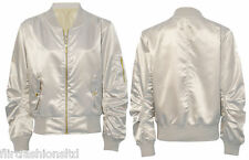 Womens Ladies Ma1 Bomber Satin Jacket Coat Biker Army Celeb Thin Summer Vintage UK XS (6-8) Cream
