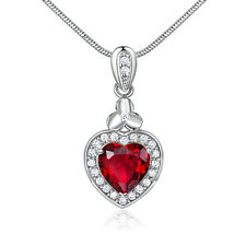 Dangle Drop Heart Ruby 18K White Gold Filled Pendant Women Lady Wedding Necklace