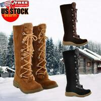 Womens Winter Warm Snow Boot Fur Lined Waterproof Lace Up Outdoor Mid Calf Shoes