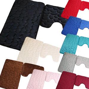 2 Piece Non Slip Microfibre Memory Foam Bath Mat & Pedestal Mat Set  - Washable
