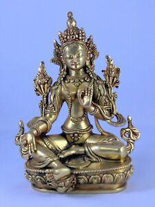 Nepal Hand Carved 24K Gold Gild Green (Arya) Tara