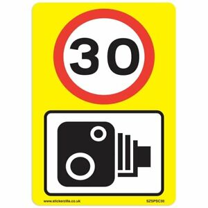 30 Mph & Speed Camera Signs [6 X Pack] - A4 Vinyl Stickers, Yellow Background...