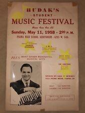 RARE Vintage Parma High School HUDAK's Music Festival Poster ACCORDION Cleveland