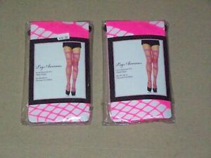 LEG AVENUE Neon Pink Swirl Diamond Net Sexy dance club wear party Thigh High set