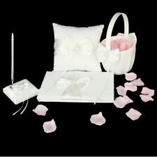 Wedding Pearl Bowknot Guest Book Ring Pillow Pen Stand Flower Basket Set