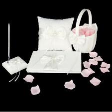 Wedding Pearl Bowknot Guest Book Ring Pillow Pen Stand Flower Basket Set