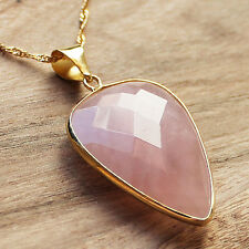 Gold Edged Faceted Rose Quartz Pointed Oval Shaped Pendant