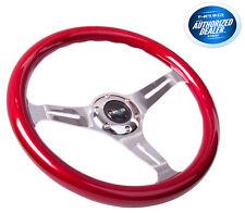 NRG Steering Wheel Red Classic Wood Grain 3 Spoke Chrome Center ST-015CH-RD