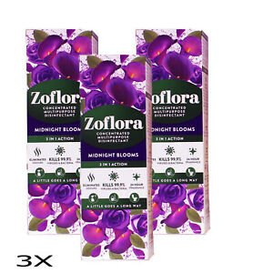 3 X 120 ML 3 IN 1 ACTION Zoflora Concentrated Disinfectant   Midnight Blooms