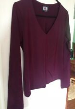 Miss Shop Maroon Plum Purple Long Sleeve Blouse Top Size 12
