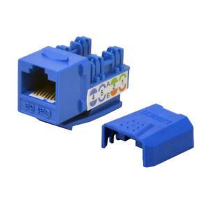 100 pack lot Keystone Jack Cat5e Blue Network Ethernet 110 Punchdown 8P8C