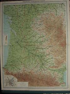 1920 LARGE MAP ~ FRANCE SOUTH-WESTERN SECTION LOT ET GARONNE PERIGUEUX